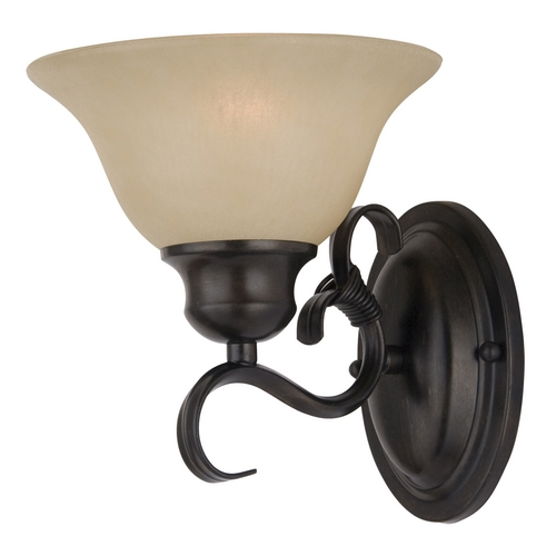 Maxim Lighting Sconce Wall Light with Beige / Cream Glass in Kentucky Bronze Finish 8021WSKB