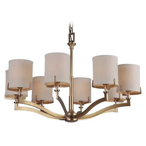 Craftmade Lighting Craftmade Vintage Brass 8-Light Chandelier with Ecru Linen Shades 48328-VB