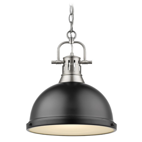 Golden Lighting Golden Lighting Duncan Pewter Pendant Light with Matte Black Shade 3602-LPW-BLK