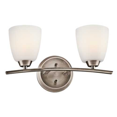 Kichler Lighting Kichler Bathroom Light with White Glass in Brushed Pewter Finish 45359BPT