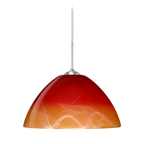 Besa Lighting Modern Pendant Light with Orange Glass in Satin Nickel Finish 1JT-4201SL-SN