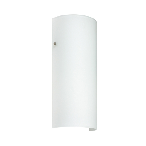 Besa Lighting Sconce Wall Light with White Glass in Satin Nickel Finish 819207-SN