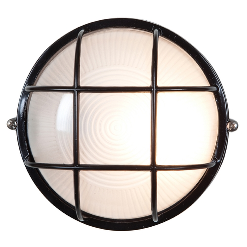 Access Lighting Outdoor Wall Light with White Glass in Black Finish 20294-BL/FST