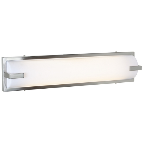 Access Lighting Modern Bathroom Light with White in Brushed Steel Finish 31032-BS/ACR
