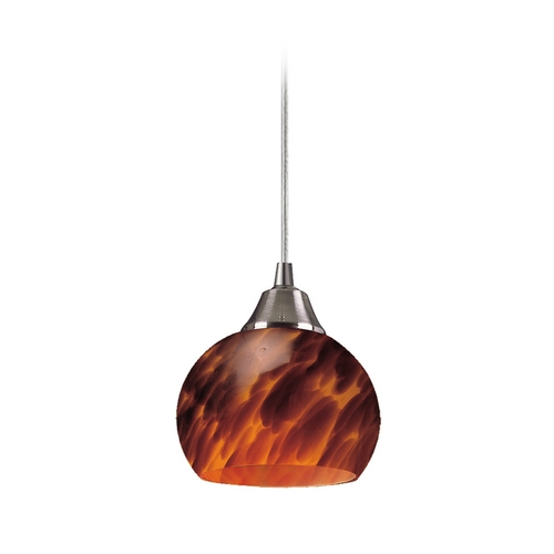 Elk Lighting Mini-Pendant Light with Brown Glass 101-1ES