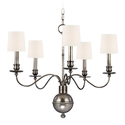 Hudson Valley Lighting Chandelier with Beige / Cream Shades in Aged Silver Finish 8215-AS-WS