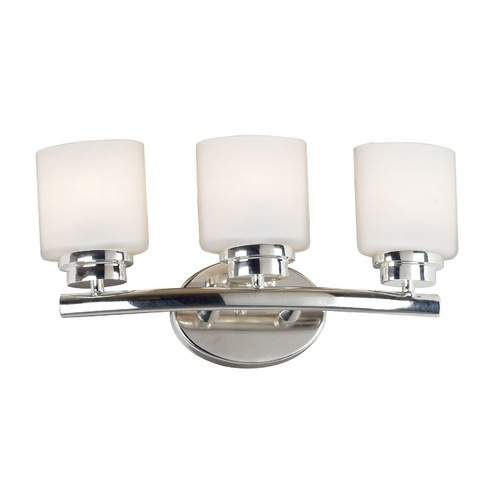 Kenroy Home Lighting Modern Bathroom Light with White Glass in Polished Nickel Finish 03392