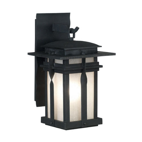 Kenroy Home Lighting Modern Outdoor Wall Light with White Glass in Black Finish 91903BL