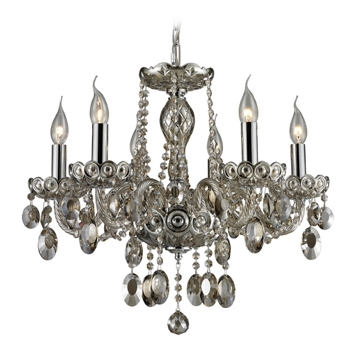Elk Lighting Crystal Chandelier in Teak Plated Finish 80052/6