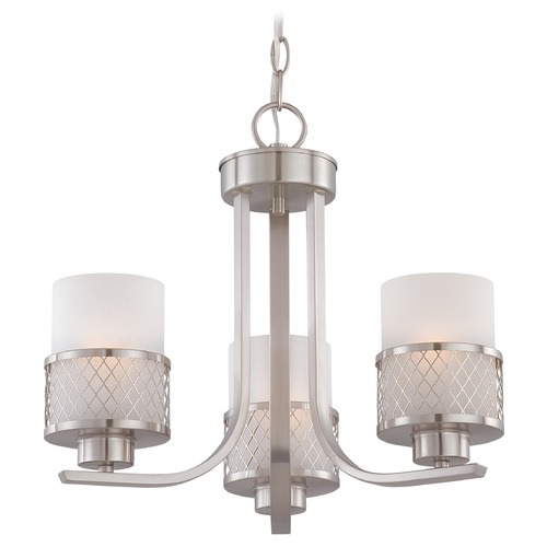 Nuvo Lighting Modern Mini-Chandelier with White Shades in Brushed Nickel Finish 60/4687