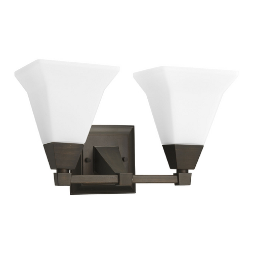 Progress Lighting Progress Bathroom Light with White Glass in Venetian Bronze Finish P3136-74