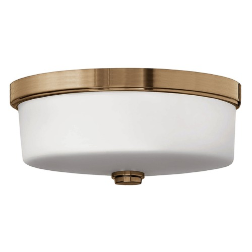 Hinkley Lighting Flushmount Light with White Glass in Brushed Bronze Finish 5421BR