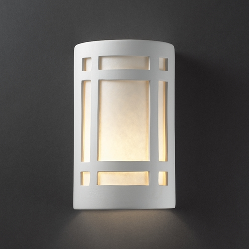 Justice Design Group Outdoor Wall Light with White in Bisque Finish CER-7485W-BIS