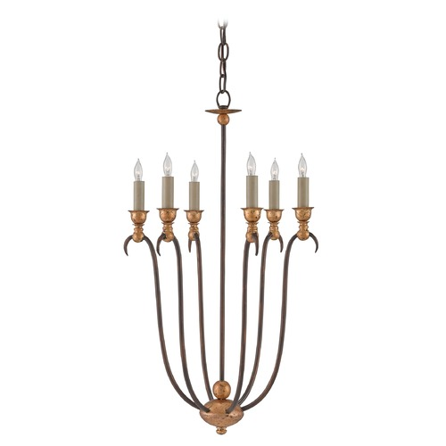 Currey and Company Lighting Currey and Company Oriana Hand Rubbed Bronze/gold Leaf Chandelier 9606