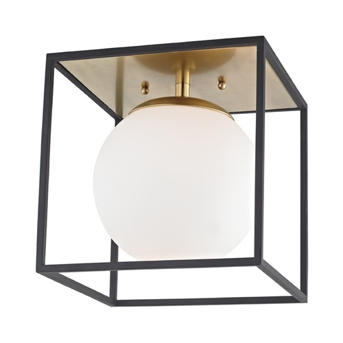 Mitzi by Hudson Valley Mid-Century Modern Flushmount Light Brass / Black Mitzi Aira by Hudson Valley H141501S-AGB/BK