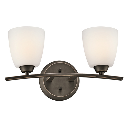 Kichler Lighting Kichler Bathroom Light with White Glass in Olde Bronze Finish 45359OZ