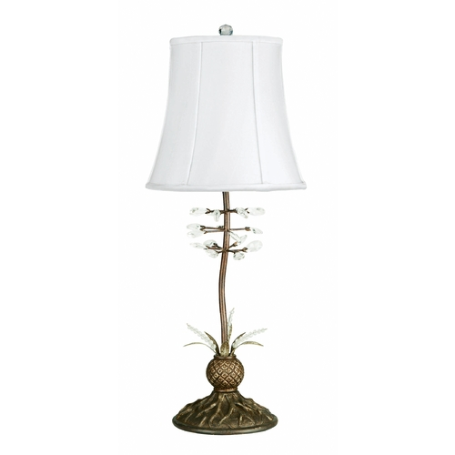 Lite Source Lighting Table Lamp with White Shade in Antique Bronze Finish C457