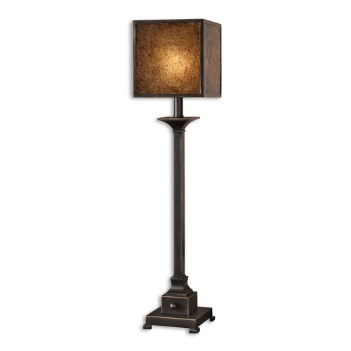 Uttermost Lighting Console & Buffet Lamp with Brown Glass in Rustic Bronze Finish 29883-1