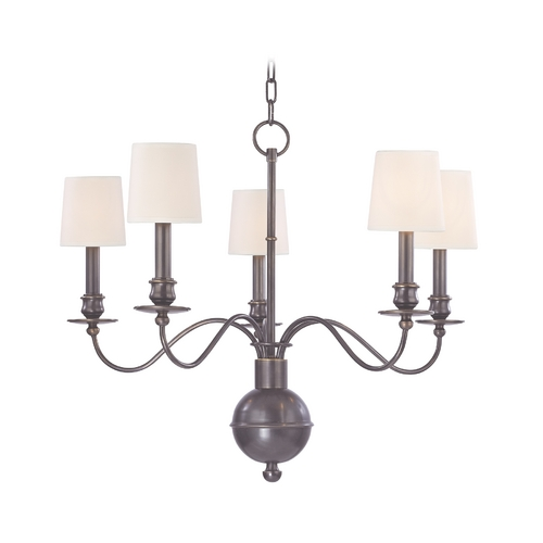 Hudson Valley Lighting Chandelier with White Paper Shades in Old Bronze Finish 8215-OB