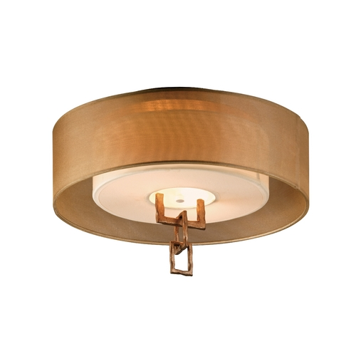 Troy Lighting Semi-Flushmount Light with Beige / Cream Shades in Bronze Leaf Finish C2870
