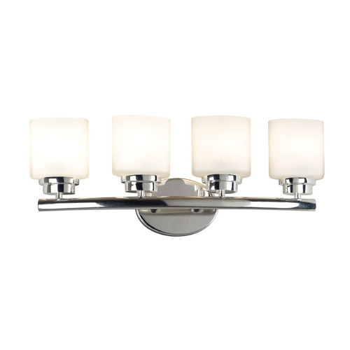 Kenroy Home Lighting Modern Bathroom Light with White Glass in Polished Nickel Finish 03393