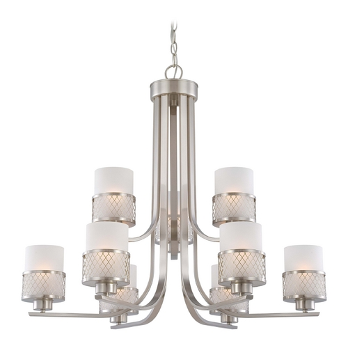 Nuvo Lighting Modern Chandelier with White Shades in Brushed Nickel Finish 60/4689