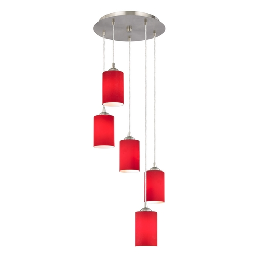 Design Classics Lighting Modern Multi-Light Pendant with Red Glass and Five Lights 580-09 GL1008C