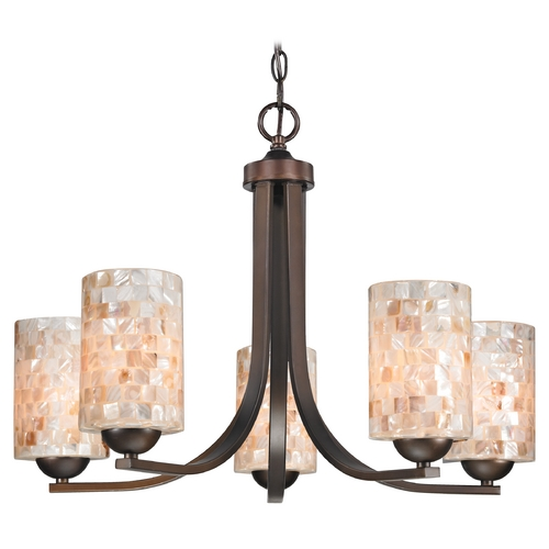 Design Classics Lighting Chandelier with Mosaic Glass in Neuvelle Bronze Finish 584-220 GL1026C