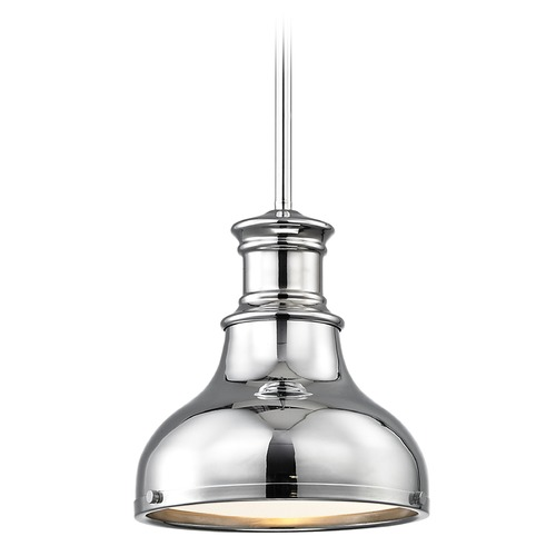 Design Classics Lighting Chrome Small Pendant Light with Metal Shade 8.63-Inch Wide 1761-26 SH1778-26 R1778-26