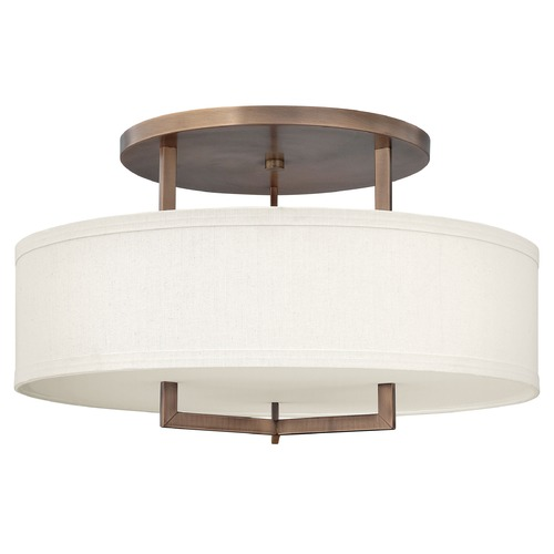 Hinkley Lighting Modern Semi-Flushmount Light with White Shade in Brushed Bronze 3211BR