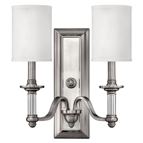 Hinkley Sconce Wall Light with Beige / Cream Shades in Brushed Nickel Finish 4792BN