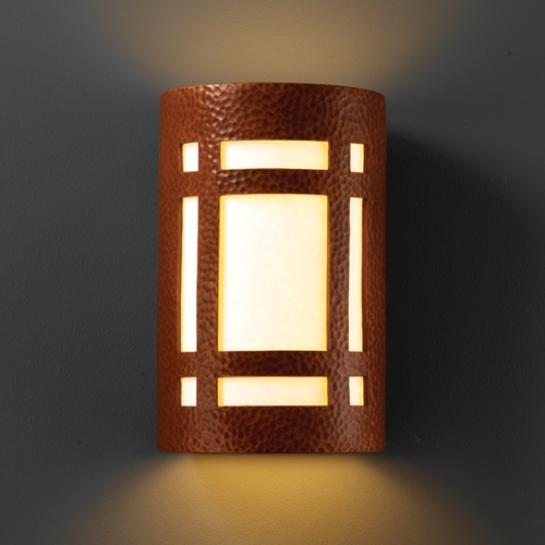 Justice Design Group Outdoor Wall Light with White in Hammered Copper Finish CER-7485W-HMCP