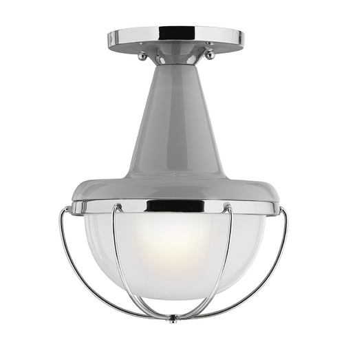 Feiss Lighting Feiss Lighting Livingston High Gloss Gray / Polished Nickel Close To Ceiling Light OL14013HGG/PN