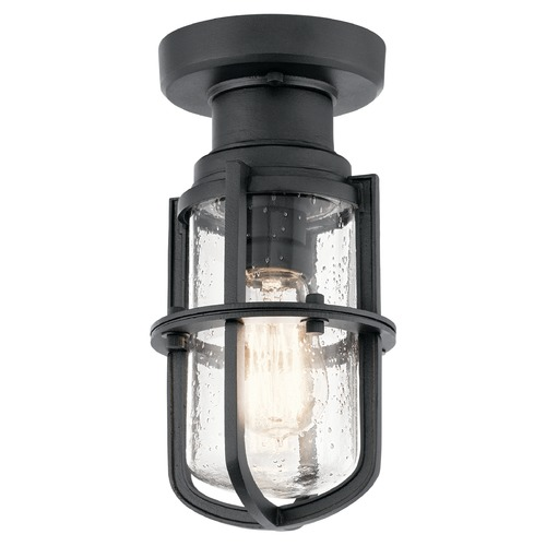 Kichler Lighting Seeded Glass Close To Ceiling Light Black Kichler Lighting 49861BKT