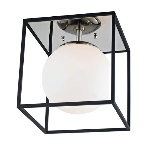 Hudson Valley Lighting Mid-Century Modern Flushmount Light Polished Nickel / Black Mitzi Aira by Hudson Valley H141501S-PN/BK