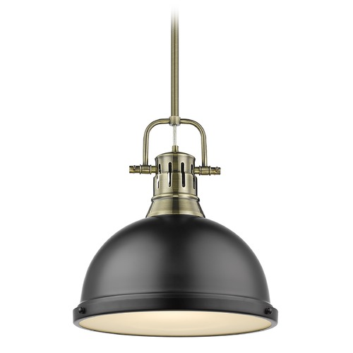 Golden Lighting Golden Lighting Duncan Aged Brass Pendant Light with Matte Black Shade 3604-LAB-BLK