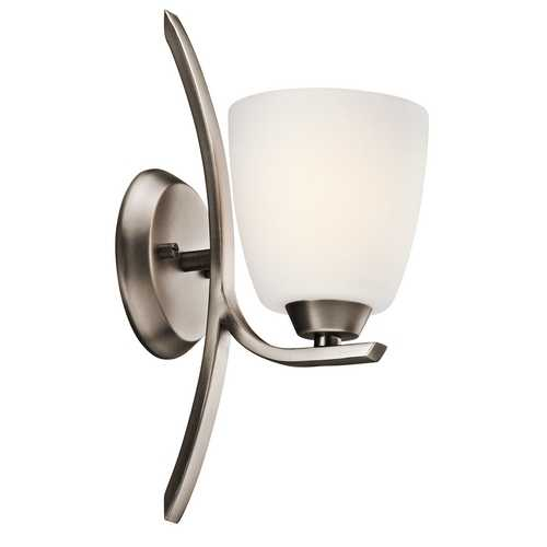 Kichler Lighting Kichler Sconce Wall Light with White Glass in Brushed Pewter Finish 45358BPT
