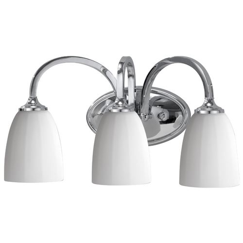 Feiss Lighting Modern Bathroom Light with White Glass in Brushed Steel Finish VS17403-CH