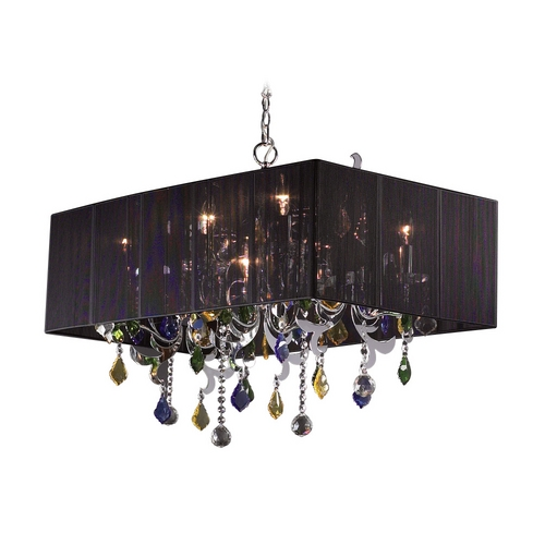 PLC Lighting Modern Crystal Chandelier with Clear Glass in Polished Chrome Finish 34118 PC