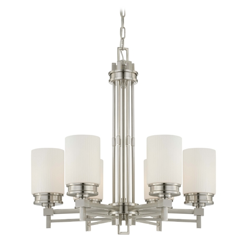 Nuvo Lighting Modern Chandelier with White Glass in Brushed Nickel Finish 60/4705