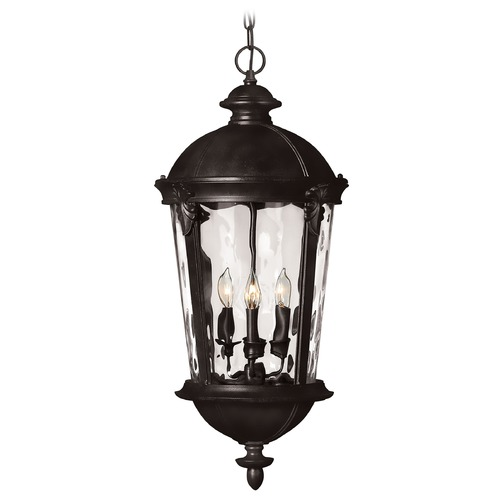 Hinkley Seeded Glass Outdoor Hanging Light Black Hinkley 1892BK