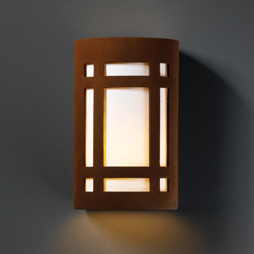 Justice Design Group Outdoor Wall Light with White in Real Rust Finish CER-7485W-RRST
