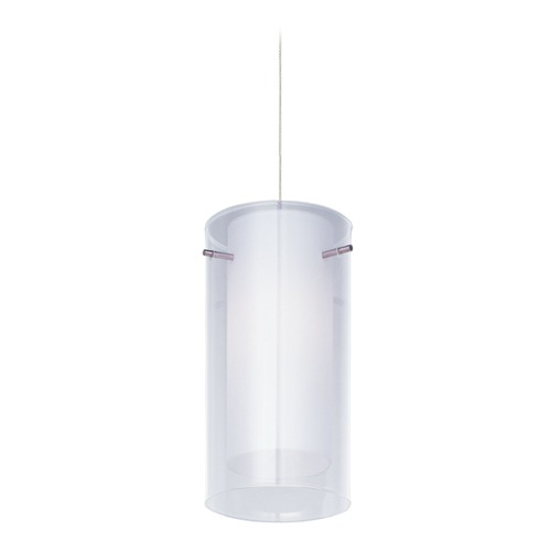 ET2 Lighting Frost Satin Nickel Mini-Pendant Light with Cylindrical Shade E94344-10SN