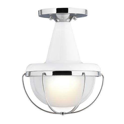 Feiss Lighting Feiss Lighting Livingston High Gloss White / Polished Nickel Close To Ceiling Light OL14013HGW/PN