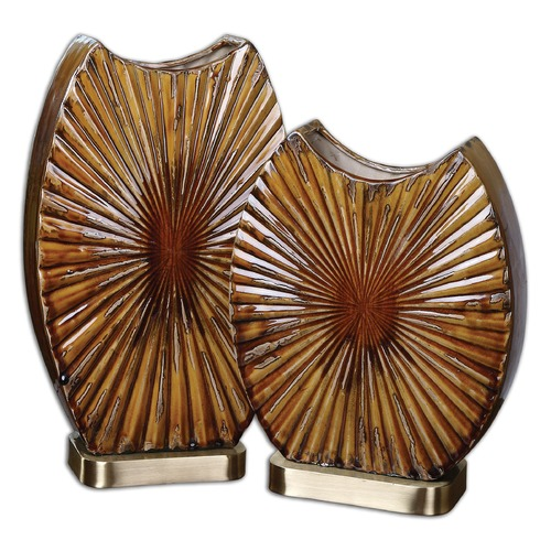 Uttermost Lighting Uttermost Zarina Marbled Ceramic Vases Set of 2 19867