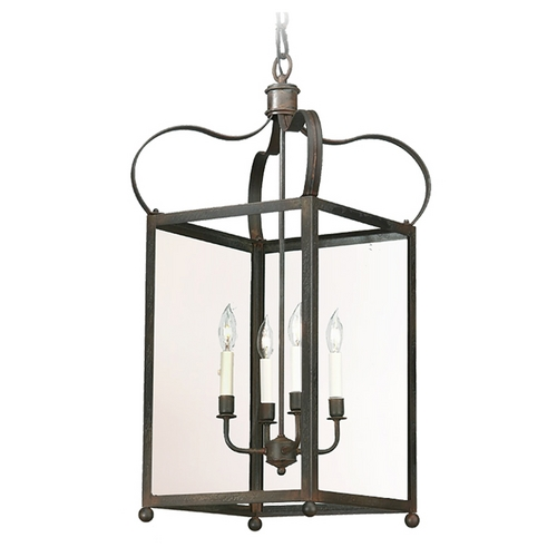 Troy Lighting Pendant Light with Clear Glass in Charred Iron Finish F8922CI