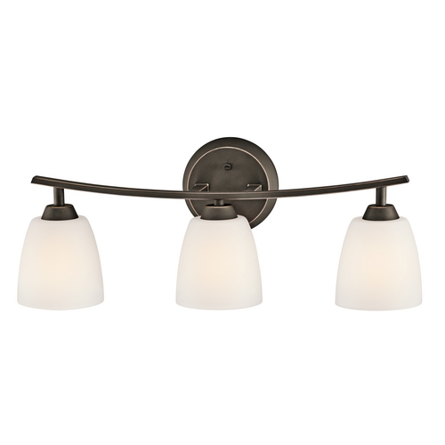Kichler Lighting Kichler Bathroom Light with White Glass in Olde Bronze Finish 45360OZ