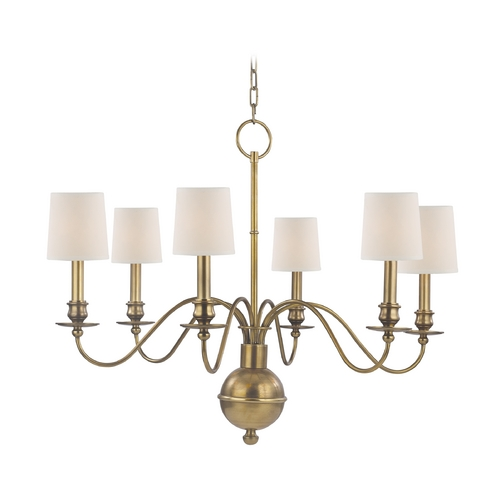 Hudson Valley Lighting Chandelier with White Paper Shades in Aged Brass Finish 8216-AGB