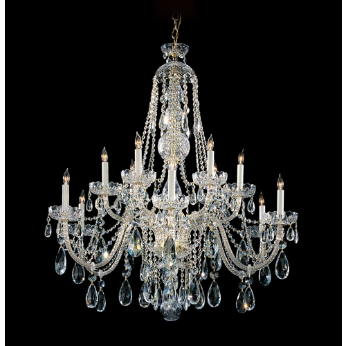 Crystorama Lighting Crystal Chandelier in Polished Brass Finish 1112-PB-CL-SAQ