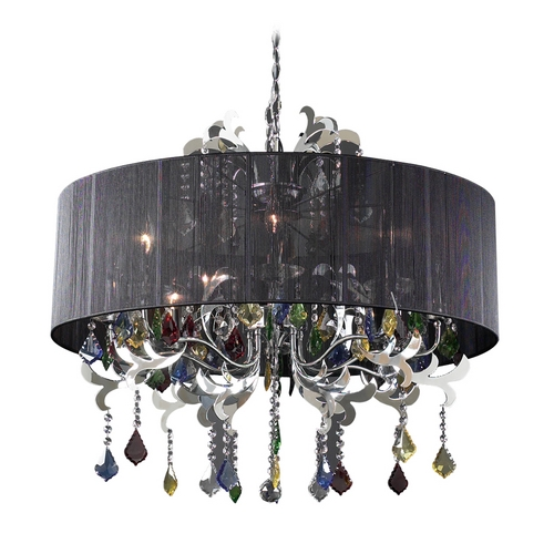 PLC Lighting Modern Crystal Chandelier with Clear Glass in Polished Chrome Finish 34116 PC
